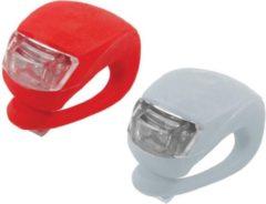 Merkloos / Sans marque 2 Fietslampjes - Fietslichtjes - Voorlicht en Achterlicht - Wit en Rood - Inclusief batterijen