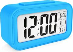 JustAnotherProduct JAP Clocks AC18 digitale wekker - Alarmklok - Inclusief temperatuurmeter - Met snooze en verlichtingsfunctie - Lichtblauw