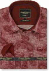 Gentile Bellini Heren Overhemd - Slim Fit - Jacquard Paisley - Rood - Maat M