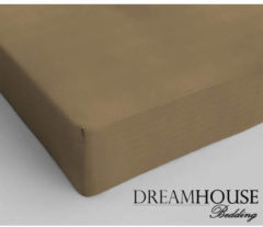 Dreamhouse bedding - hoeslaken - katoen - lits-jumeaux - 200x220 cm - taupe - 1-persoons (80 cm) - taupe