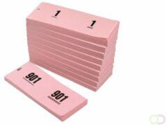 Office Nummerblok 42x105mm nummering 1-1000 roze 10 stuks