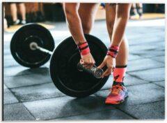 Roze KuijsFotoprint Dibond - Fitness Gewichtheffen - 40x30cm Foto op Aluminium (Wanddecoratie van metaal)