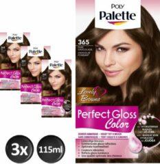 Bruine Schwarzkopf Poly Palette Perfect Gloss 365 Chocolade Haarverf - 3 stuks - Voordeelverpakking - intensieve, natuurlijke kleuren met 100% grijsdekking