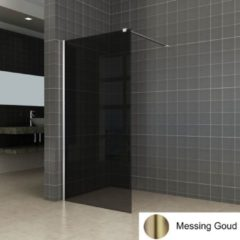 Boss & Wessing BWS Inloopdouche Pro Line Rookglas 120x200 Nano Coating Geborsteld Messing Goud Profiel en Stang