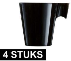 Luminarc 4x Lungo koffie/espresso bekers zwart - Zwarte koffiekopjes - Cafe Lungo