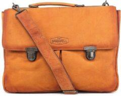 Sparwell Lederen tas - Leren aktetas - 15.5 inch laptoptas - Licht Bruin