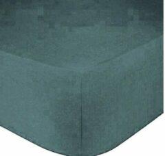 Home bedding Premium hoeslaken-jersey-100% katoen -stretch-Lits-jumeaux-200x220 +40cm-Hoekhoogte -Groen blauw