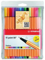 Nikon Stabilo fineliner Point 88, etui van 15 stuks in geassorteerde kleuren