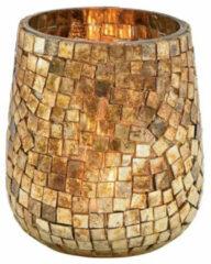Goudkleurige Bellatio Design Glazen Design Windlicht/kaarsenhouder In De Kleur Mozaiek Champagne Goud Met Formaat 11 X 10 Cm. Voor Waxinelichtjes