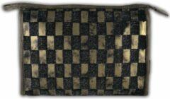 Gerard Brinard Stoffen toilettas met geblokt patroon Goud zwart