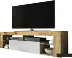 Maison Woonstore Maison's Tv meubel industrieel - Tv Kast meubel - Tv meubel - Tv Meubels - Tv meubel Wit - Tv meubel Eiken - Wit - Eiken - No LED -Bianko - 140x50,5x35