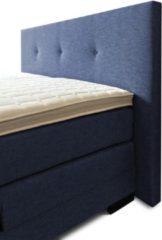 Boxspring Brava compleet, merk Olympic Life®, 160 x 210 cm, blauw, 14-delig, breed hoofdbord met 3 gecapitonneerde knopen motief