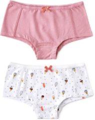 Beige Little Label Meisjes Hipster (2 pack) - wit,grijs,oranje - Maat 158-164