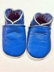 Drukkies Leren baby slofjes – blauw maat L