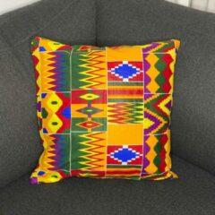 Rode Afabs Afrikaans kussen | Kente multicolor - Sierkussen 45x45 - 100% Katoen | Sierkussens 45x45 Kussenhoes | Binnenkussen 45 x 45 | Tribal kussen | African pillow