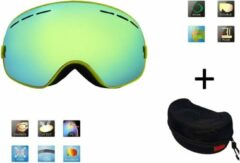 Groene Improducts Ski bril + hard case lens Smoke Gold frame Geel F type 6 Cat. 0 tot 4 - ☀/☁ extra lens is optie.