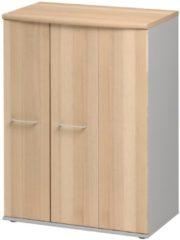 Gamillo Furniture Opbergkast Jazz 114 cm hoog in beuken met licht grijs