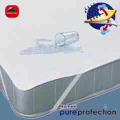 Witte Homéé® Homéé ® Plateau Waterdicht PU Matrasbeschermer Flanel 140x200 +30cm 100% geruwd katoen 220g. p/m2