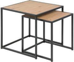 Bruine Meubelen-Online Honkytonk Bijzettafel set twee tafels wild eiken - 50x50x45cm - Industrieel