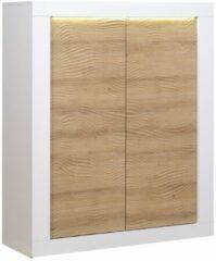Witte Ameubelment Opbergkast Karma 145 cm hoog - Hoogglans wit met Eiken