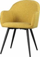 Maison Woonstore Maison´s stoel – Stoel – Stoelen – Eetkamerstoel – Eetkamerstoelen – Kuipstoel – Kuipstoelen – Geel – Zwart – Eetkamerstoel met armleuning