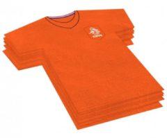 Rayher hobby materialen 60x Voetbalshirt themafeest servetten oranje 16 x 15 cm papier - Oranje papieren wegwerp tafeldecoraties