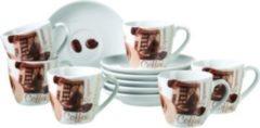 """Domestic 688181 """"Latte Macchiato"""" Espressotasse mit Unterteller, braun/weiß, 12-teilig (1 Set)"""