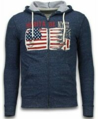 Enos Casual Vest - Embroidery American Heritage - Blauw - Maat: XS
