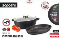 Zwarte Satoshi - Braadpanset van Braadpan en Sauteerpan - Braadschotel / stoofschotel - 5- delig - met Aromadeksel - Afneembare handgrepen - geschikt voor Inductie