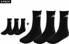Kappa Multipack – 6 paar sportsokken hoog – Zwarte Sokken - maat 35 - 38