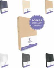 Cillows Excellent Jersey Hoeslaken voor Topper - 200x200 cm - (tot 5/12 cm hoogte) – Caramel