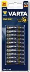 VARTA Pack familie van 30 stapels alcalines Energy AAA (LR03) 1,5V