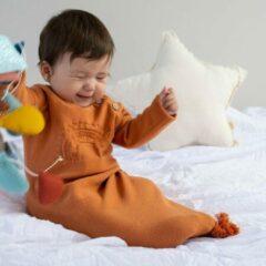 Lal & Nil Levamore - Babyslaapzak - Fijn gebreide slaapzak - Oranje - 60cm - Lal and Nil Baby Genie - Tierra 3 tot 6 maanden - Slaapzak van 100% biologisch katoen