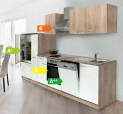 Respekta kitchen economy Respekta Küchenzeile KB310ESWCOES 310 cm Weiß-Eiche Sägerau Nachbildung