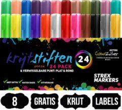 Donkerrode Strex Krijtstiften 24 Stuks - Incl. 8 Krijtlabels - 6MM - Raam Stiften - Neon Stiften - Krijtbordstiften - Krijt Stiften