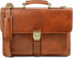 Tuscany Leather Assisi - Leren aktetas met 3 vakken - Honing - TL141825