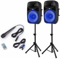 Zwarte Vonyx VPS152A complete geluidsinstallatie actief / passief 1000W met o.a. Bluetooth, LED's