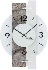 Bruine AMS Wandklok Natuursteen-Aluminium 9558