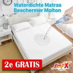 EmpX.nl 2x Waterdicht Matrasbeschermer 160x200 - Hoeslakenbadstof - Antibacteriëel - Rondom Elastiek - Wit - Waterdichte Matras Beschermer Molton/Incontinentie Matrasbeschermer - 160x200