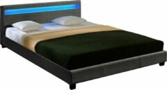 Corium Houten bed stof LED-verlichting bedbodem 140x200 donkergrijs