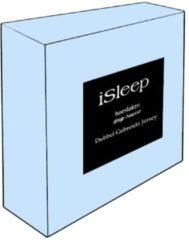 Lichtblauwe ISleep Dubbel Jersey Hoeslaken - Litsjumeaux XXL - 210x220/230 cm - Licht Blauw