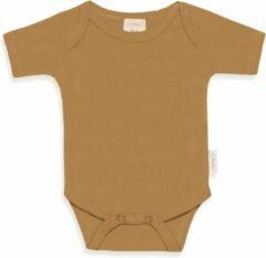 Zandkleurige Funnies romper uni line Sand | romper 62-68 | baby | 100% zuivere katoen | rompertjes baby| rompers | romper korte mouw