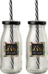 Transparante Gusta® Gusta Fles 0,25L + rietje 4dlg In a jar