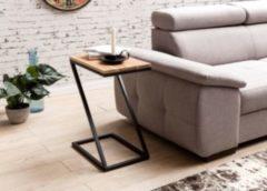Wohnling Beistelltisch AKOLA Z-Form Massiv-Holz Akazie / Metall 45 x 62 x 32 cm Design Wohnzimmertisch Landhaus-Stil Anstelltisch Ablagetisch eckig