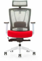 Bureaustoel luxe Kangaro netstof. Multi verstelbaar met hoofdsteun, grijs/rood