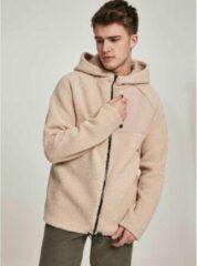 Creme witte Urban Classics Jacket -2XL- Hooded Sherpa Creme