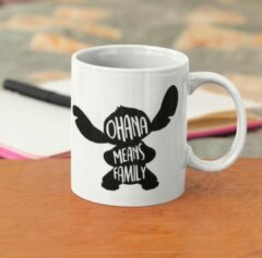 Witte Kimano Mok Ohana means family - met character Stitch - cadeautip
