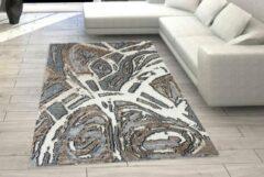 Flycarpets Modern Vloerkleed Bruin / Beige / Grijs - Tegula - Vintage - 160x230 cm