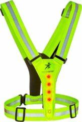 Gele LED Safer Sport vest - 3 verschillende lichtmodus - met Reflectie strepen - Verstelbaar op iedere maat - One Size - Siston
