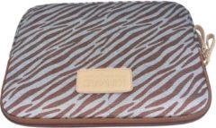Bruine Kinmac – Laptop/Tablet Sleeve met Zebraprint tot 10 inch – 27,5 x 21 x 1,5 cm - Bruin